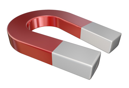 iman: imán metal rojo para atraer objetos a través de fuerza magnética