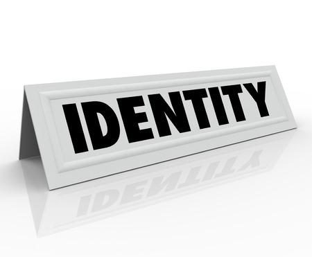 personalidad: Palabra de identidad en una tarjeta de nombre carpa para ilustrar su carácter único o personalidad distintiva
