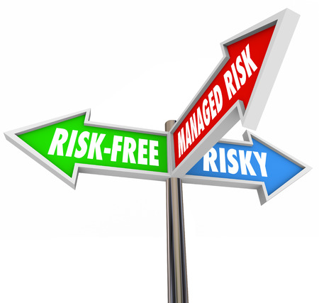 mitigating: Managed Risk words on a sign between two others labeled Risk-Free and Risky to illustrate an acceptable middle ground in mitigating liability, danger and hazardous behavior or activity Stock Photo