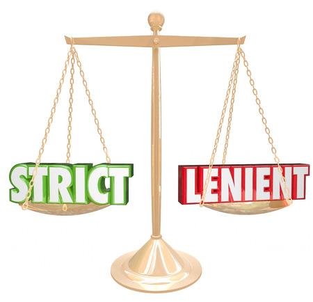 disciplinary action: Strict and Lenient 3d words on a gold scale comparing the opposite approaches or methods of discipline