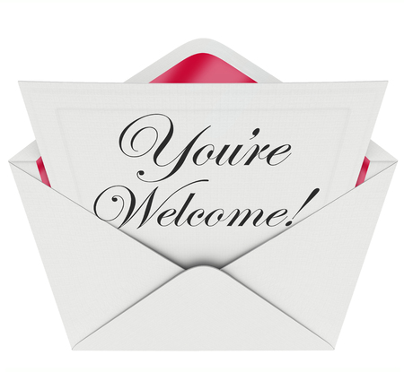 acknowledge: Youre Welcome words in script font written on a letter or note in an open envelope to illustrate, convey or communicate recognition or appreciation Stock Photo