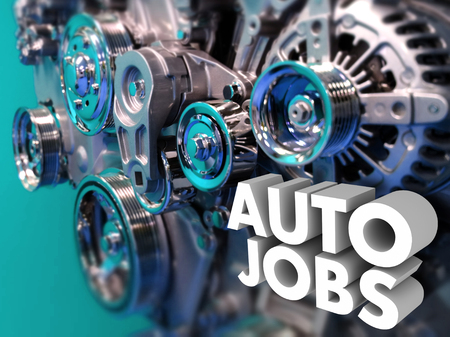Auto Jobs words in white 3d letters on an automotive, car or vehicle engine to illustrate a career working in auto design or engineering Foto de archivo