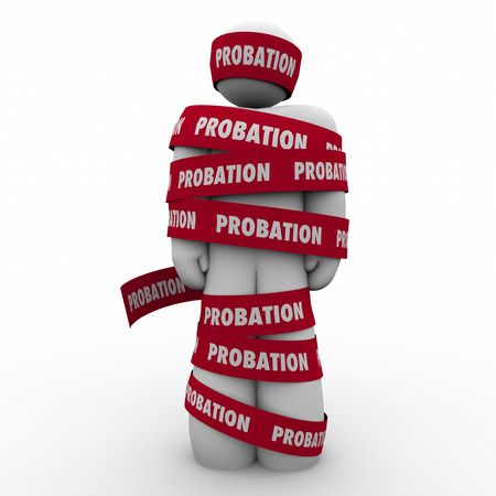 probation: Probation word on red tape wrapped around a man to illustrate restricted or limited movement, freedom or access