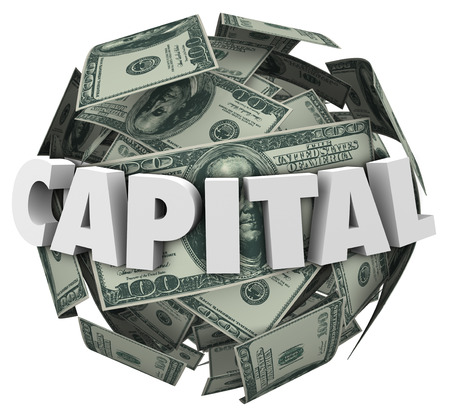loaning: Capital 3d word on a ball or sphere of money or dollars to illustrate funding or financing with a loan or borrowed resources