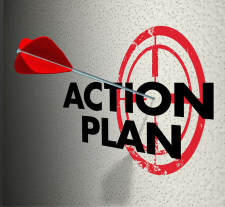 Action Plan words on a bulls eye or target and arrow hitting to illustrate meeting a goal or objective for a job or task