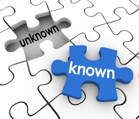 Connu mot sur un morceau sur le point de remplir un trou de puzzle marqué inconnu pour illustrer trouver les informations manquantes pour compléter les connaissances ou l'apprentissage