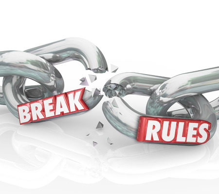 liberated: Break Rules words on breaking chains to illustrate protesting or objecting to unfair laws or regulations