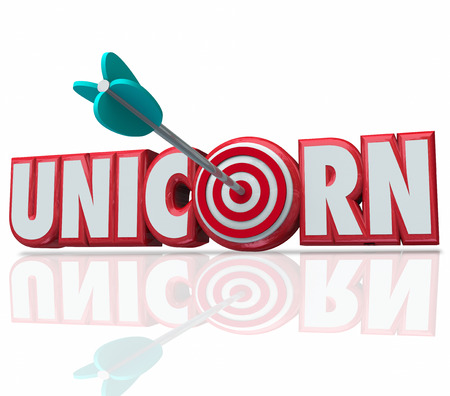 unique characteristics: Unicorn word in red 3d letters and an arrow in the target or bulls eye to illustrate hunting, searching for and finding the rare breed of employee, innovator or leader for your company or business