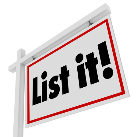 List It words on real estate sign for selling house or home in sale for moving to new property or location Reklamní fotografie