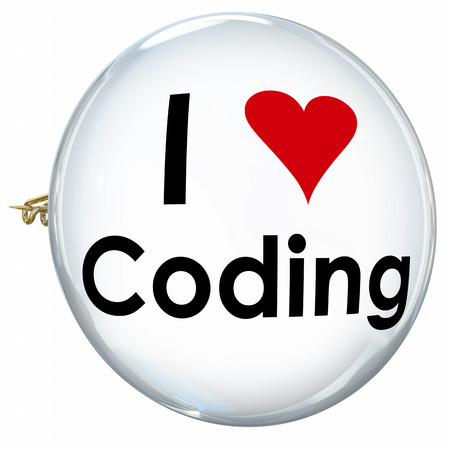 I Love Coding words on a white button or pin for a programmer, coder or website developer or application engineer