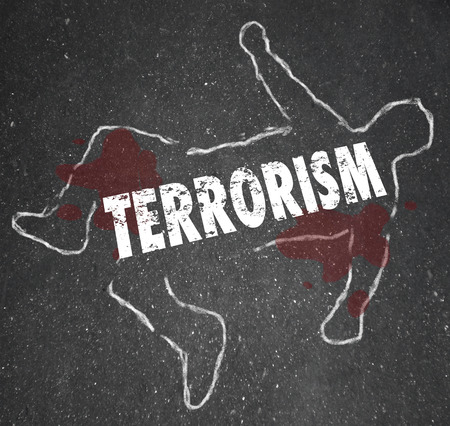 violent: Terrorism word on a chalk outline of a dead body victim or casualty of killing by fundamentalist terrorist group or cell