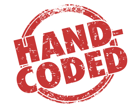 website words: Hand-Coded words in a round red stamp to illustrate or advertise your website, software or program was made by a developer with great personal attention to details