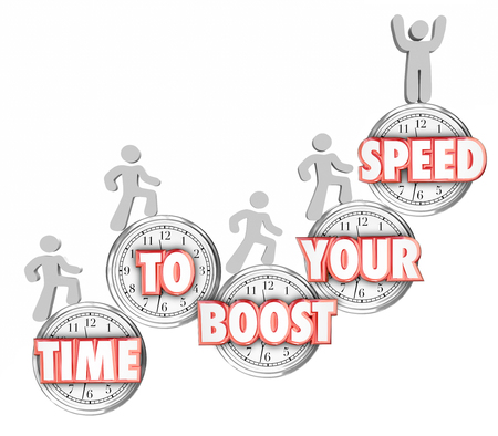 Time to Boost Your Speed words in red 3d letters on clocks and people increasing or improving