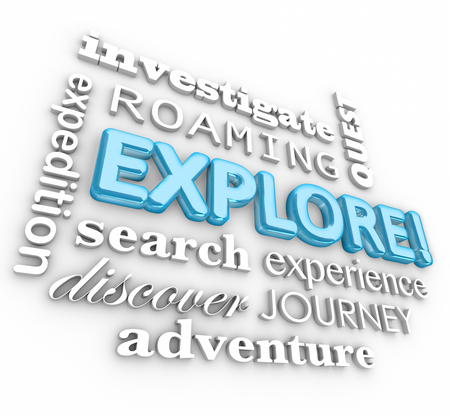 enrich: Explore 3d word in a collage of terms including investigate, expedition, roaming, search, quest, journey, discover and adventure