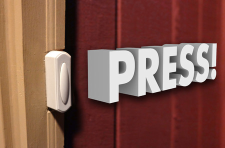 soliciting: Press word in white 3d letters next to a door bell to announce your arrival at a doorstep at someones home