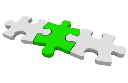 answered: Green puzzle piece connecting a picture together or solving a problem Stock Photo