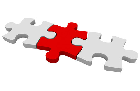 red puzzle piece: Red puzzle piece connecting a picture together or solving a problem
