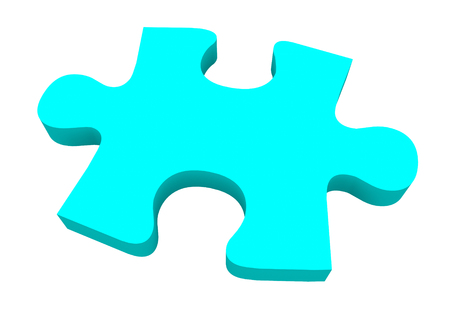 difficult task: A final blue puzzle piece needed to finish or complete a picture or solve a problem