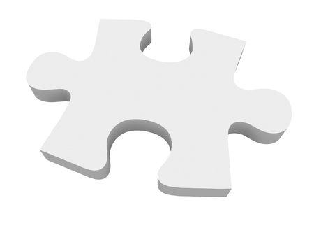 answered: A final white puzzle piece needed to finish or complete a picture or solve a problem Stock Photo