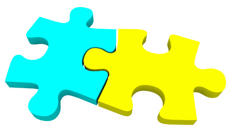 coming together: Two puzzle pieces in blue and yellow coming together to solve a problem