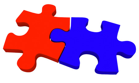 coming together: Two puzzle pieces in blue and red coming together to solve a problem
