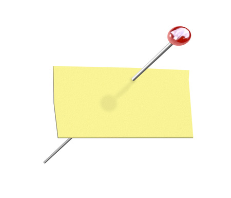 inform information: An isolated rectangular piece of yellow paper and a pushpin for a pinned message on a bulletin board with copy space for your text Stock Photo