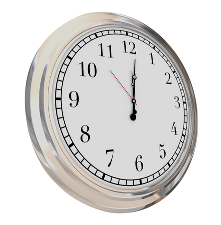 seconds: Clock face isolated to illustrate passing minutes, seconds and hours