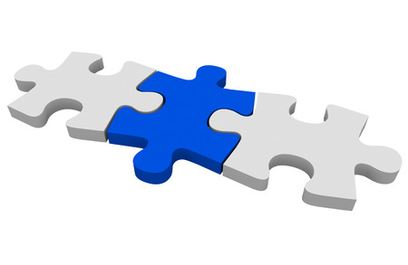decipher: Blue puzzle piece connecting a picture together or solving a problem