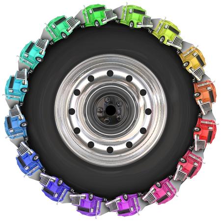 3d の円の周りを運転トラクター トレーラーの車輪またはタイヤの説明の上、道路運送 写真素材