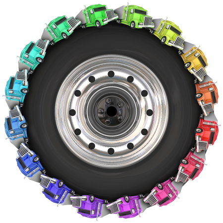wheeler: Tractor trailers driving around in a circle on a 3d wheel or tire illustrating Over the Road trucking
