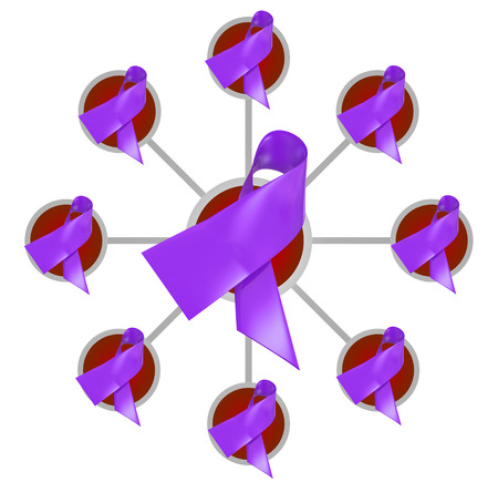 Purple ribbons for Alzheimers, stroke or Cystic Fibrosis awareness, fund raising and research in a connected network, group or association