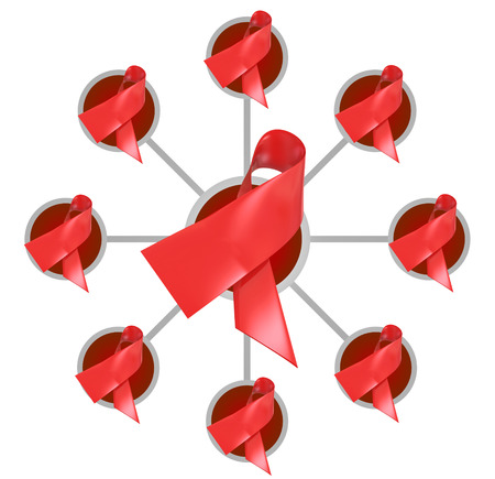 group network: Red ribbons for heart disease or AIDS awareness, fund raising and research in a connected network, group or association Stock Photo
