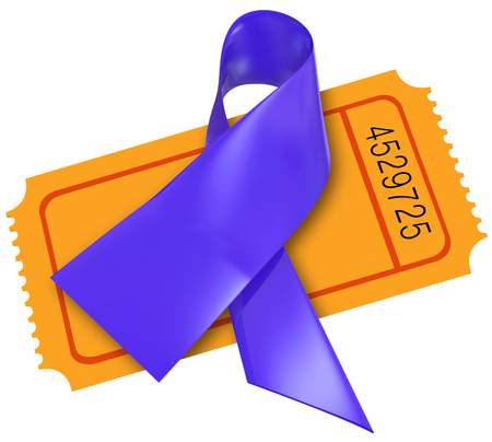 cystic: Purple Alzheimers disease or cystic fibrosis ribbon on a ticket for a fund raising event or charity for awareness and research Stock Photo
