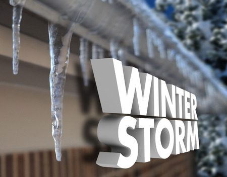 winter weather: Winter Storm 3d words in front of icicles on bricks of a home to warn of freezing weather and dangerous conditions Stock Photo