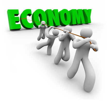 work together: Economy word in green 3d letters pulled by customers or workers to improve financial growth