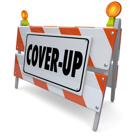 wrongdoing: Cover-Up word on a road construction sign, barrier or barricade to illustrate hiding lies, crime or fraud