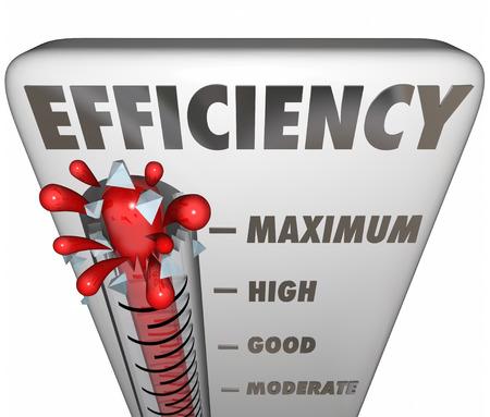 eficiencia: palabra eficiencia en el termómetro que mide su nivel de trabajo efectivo o productivo
