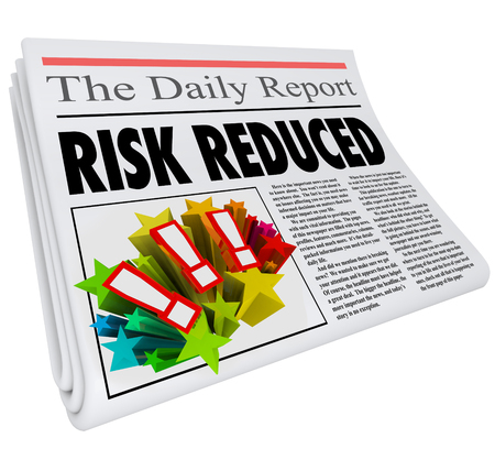 mitigating: Risk Reduced words in a newspaper headline and article reporting better, improved or lower danger levels