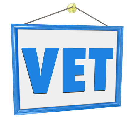 health care provider: Vet sign in an office or clinic window for a veterinarian pet doctor clinic or medical hospital for animal health care