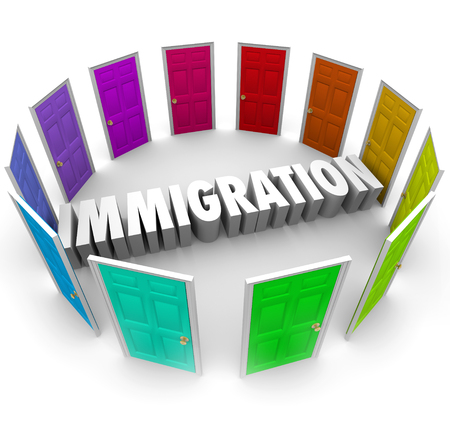 immigrate: Immigration word in 3d letters surrounded by doors to international pathways to citizenship for refugees
