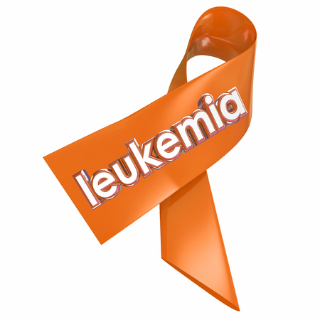 leucemia: Palabra leucemia en una cinta naranja como una campaña de sensibilización o recaudación de fondos para la investigación médica para encontrar una cura