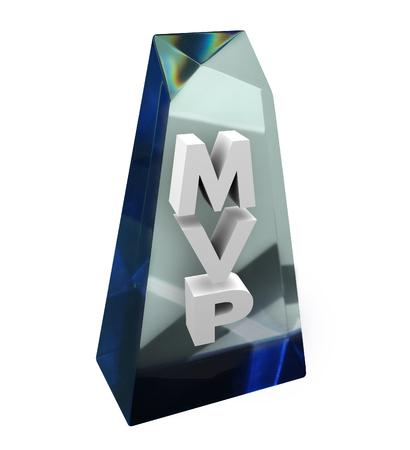 Most Valuable Player MVP Wort oder Abkürzung in einer klaren Auszeichnung oder Trophäe, die Beiträge der besten Teammitglied in einer Gruppe, Vereinigung, Firma oder Organisation die Anerkennung Standard-Bild