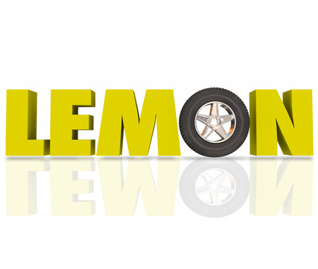 tire: Lemon word in yellow 3d letters with a car wheel or tire to illustrate a bad or defective automobile recalled by manufacturer or dealer Stock Photo