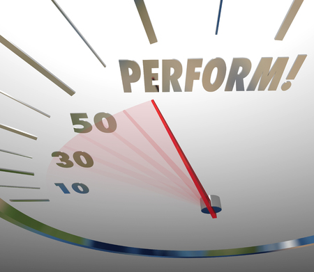 great success: Perform word on a speedometer to measure action taken to achieve success at great speed
