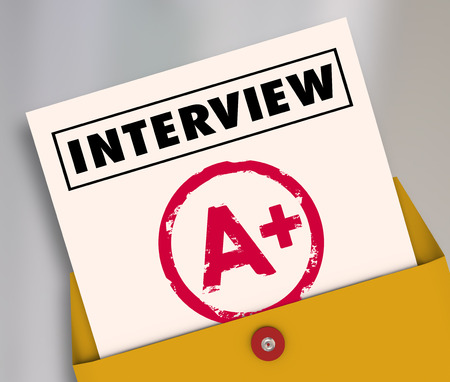 new job: Interview word on a report card answering questions to get new job and career Stock Photo