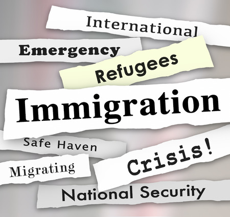 immigrate: Immigration newspaper headlines with words Refugee, Crisis, International Emergency, and National Security