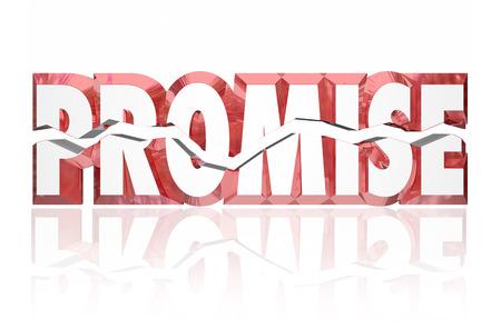 Broken Promise illustré par fissurée mot 3d rouge pour le mensonge, deceipt ou non-respect par le voeu Banque d'images - 49048090