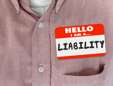 introduce: Liability word written on a red name tag or sticker to introduce a person, worker or employee as a risk Stock Photo