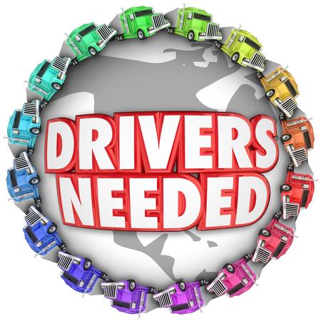 전 세계 3D 단어와 트럭을 필요한 드라이버 국제 운송 작업을 설명하기 위해 스톡 콘텐츠