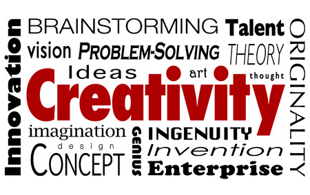 originality: Creativity word collage with innovaiton, ideas, imagination, vision, problem solving, design, concepts, art, thought and originality